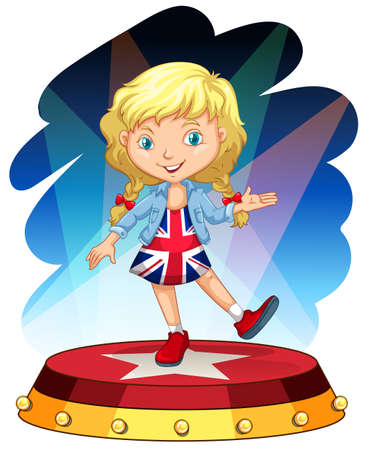 performing: British girl on stage illustration