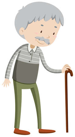 gray hair: Old man with walking stick illustration Illustration