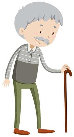 ancianos felices: Viejo hombre con la ilustración bastón