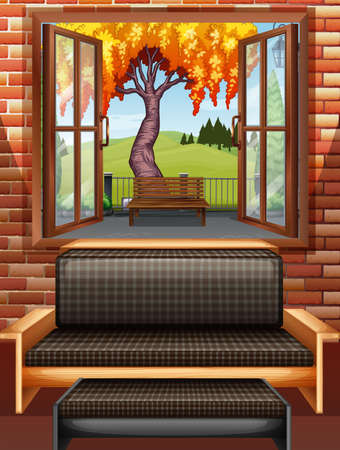 living room window: Living room with window open illustration