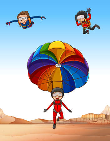 skydiving: Three people doing skydiving  illustration