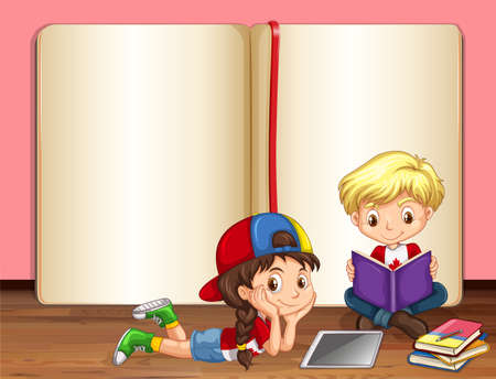 children drawing: Boy and girl reading books illustration