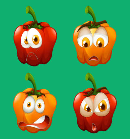 bell pepper: Facial expression on bell pepper illustration