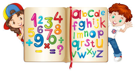cartoon number: Children with book of numbers and alphabets illustration