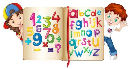 nombres: Les enfants avec le livre de chiffres et alphabets illustration