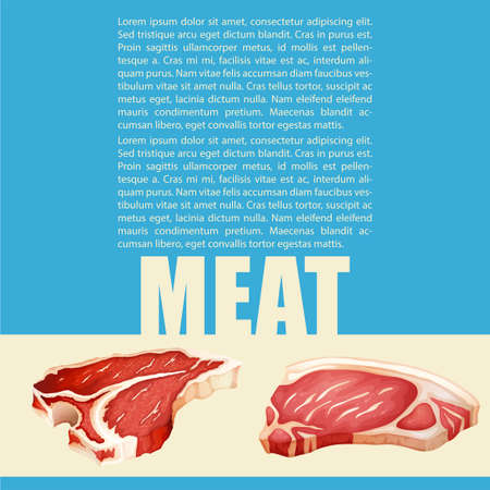 pork chop: Poster design with meat and text illustration Illustration