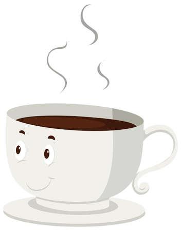 taza de té: Café caliente en una taza de ilustración Vectores