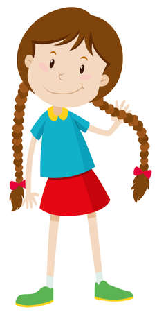 cute girl with long hair: Little girl with long hair illustration