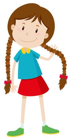 mignonne petite fille: Petite fille aux longs cheveux illustration Illustration