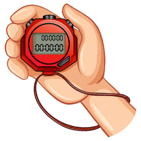 digital number: Person using digital stopwatch illustration