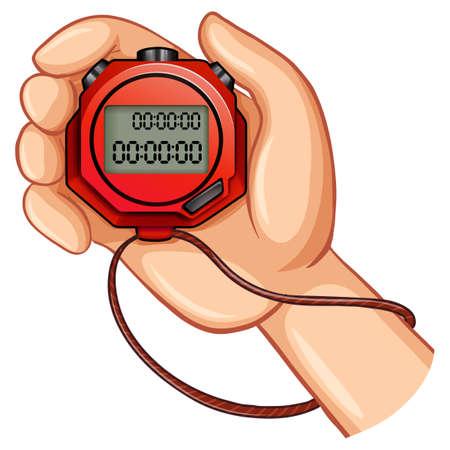 cronometro: Persona que usa la ilustraci�n digital de cron�metro Vectores