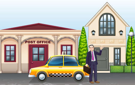 post office building: Man and taxi in front of post office illustration