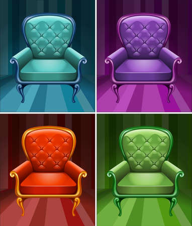 armchair: Armchair in four colors illustration