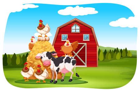 bird clipart: Farm animals in the field illustration Illustration
