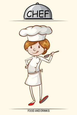 female chef: Female chef trying out the food illustration