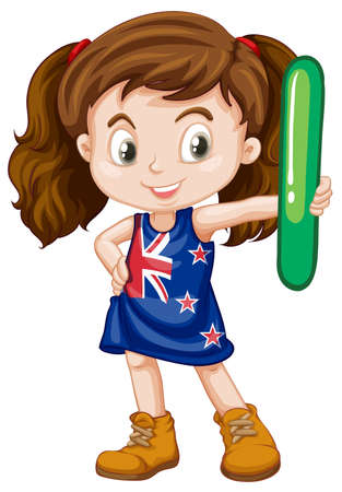 international students: Little girl holding letter l illustration Illustration