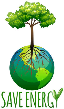 squeezed: Save energy theme with earth and tree illustration Illustration