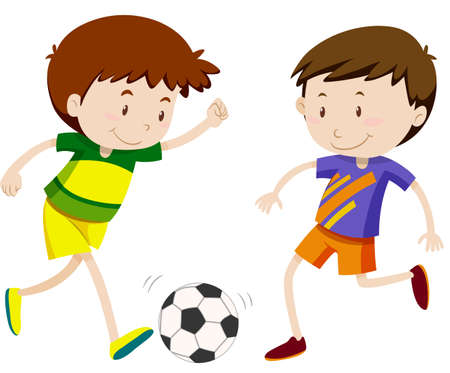 Two boy playing soccer illustration