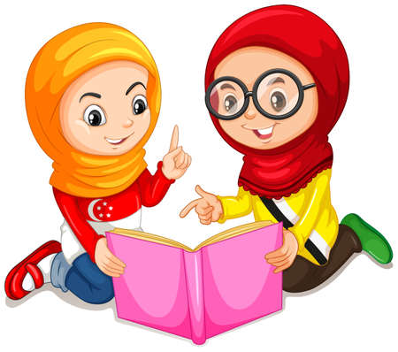 children studying: Muslim girls reading a book illustration