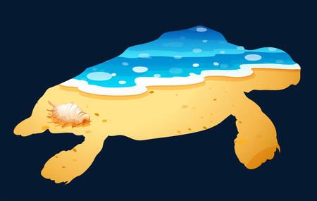 sea turtle: Save wildlife theme with sea turtle illustration Illustration