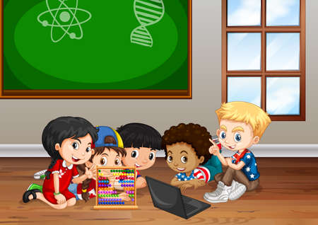 school class: Children working in classroom illustration