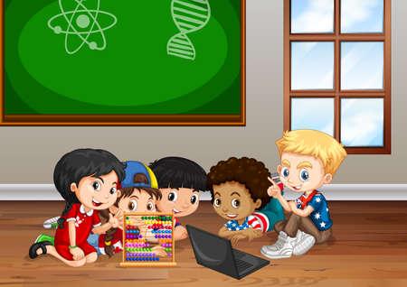 Los niños que trabajan en la ilustración del aula Vectores