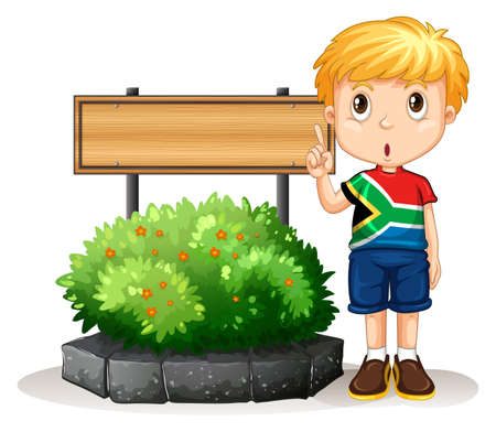 wooden board: Little boy standing next to the sign illustration