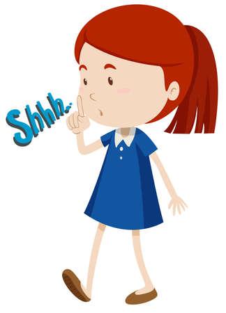 ruido: Chica haciendo un gesto para dejar de utilizar la ilustración de ruido Vectores