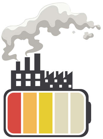 battery acid: Save energy theme with battery and factory illustration