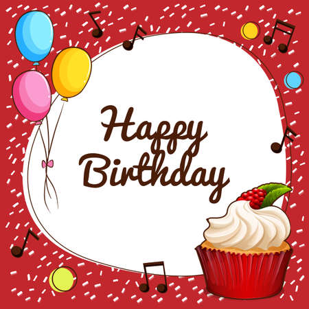 music notes: Happy Birthday sign with cupcake and balloons illustration