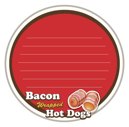 bacon art: Line paper design with hot dog illustration Illustration