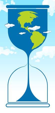 greenhouse effect: Save the world theme with earth in sandwatch illustration