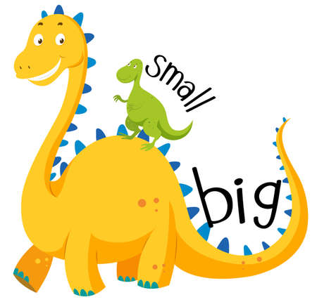 big picture: Opposite adjective big and small illustration