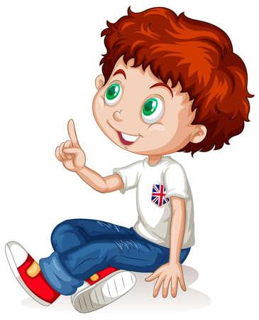 niños sentados: Niño pequeño que señala encima de la ilustración Vectores