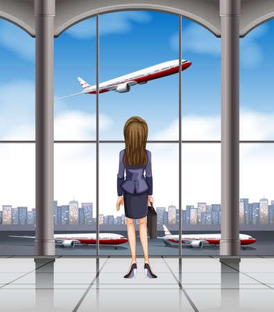 taking off: Mujer que mira el avi�n despegando ilustraci�n Vectores