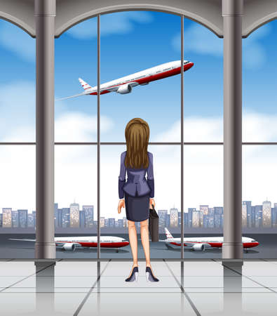 taking off: Woman looking at the plane taking off illustration
