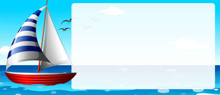 Border design with sailboat illustration