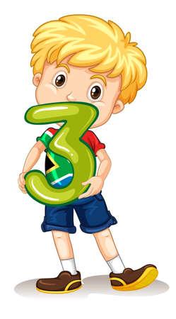 numbers: Boy holding number three illustration
