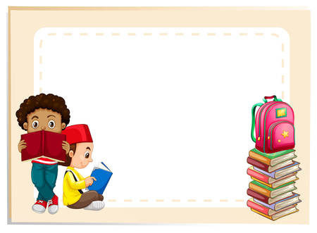 backpack school: Two boys reading books illustration Illustration
