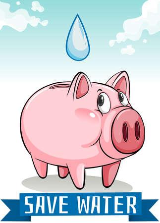 ahorrar agua: Ahorra agua con la ilustraci�n de la hucha