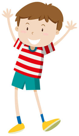 alone person: Little boy with happy face illustration