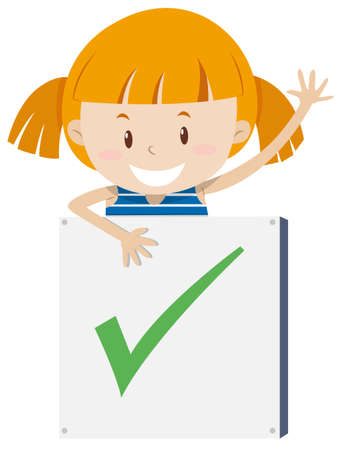 corrections: Little girl with correction sign illustration