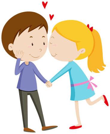 lovers kissing: Girl kissing her boyfriend illustration