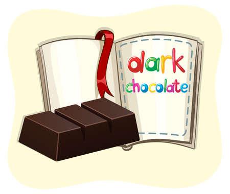 barra de chocolate: Barra de chocolate oscuro y una ilustraci�n de libros
