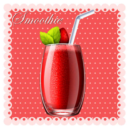appetizers: Strawberry smoothie in glass illustration Illustration
