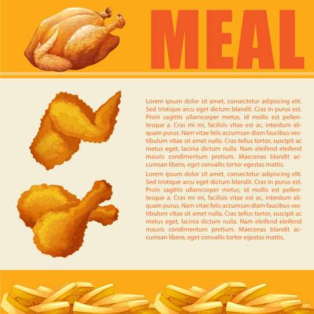 pollos asados: diseño de infografía de la ilustración de la comida Vectores