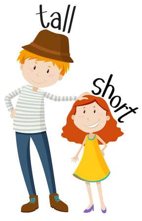 дети: Противоположные прилагательные высокий и короткий иллюстрации