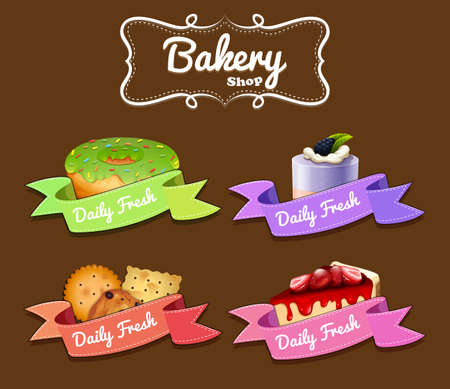 donut shop: Bakery shop logo design with donut and cakes illustration