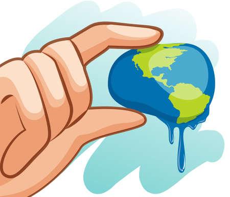 ahorrar agua: Ahorre el tema del agua con la mano ilustraci�n tierra exprimido