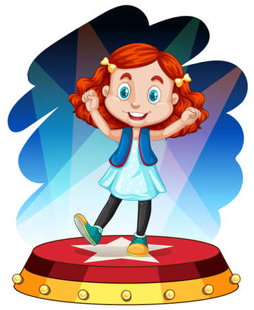 little girl dancing: Cute girl dancing on stage illustration Illustration